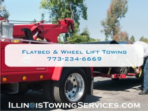 Flatbed towing and wheel lift towing by the Illinois Vehicle Transport